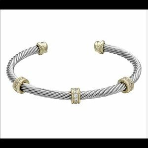 Simple Chic infuses this Two-Tone cuff bangle